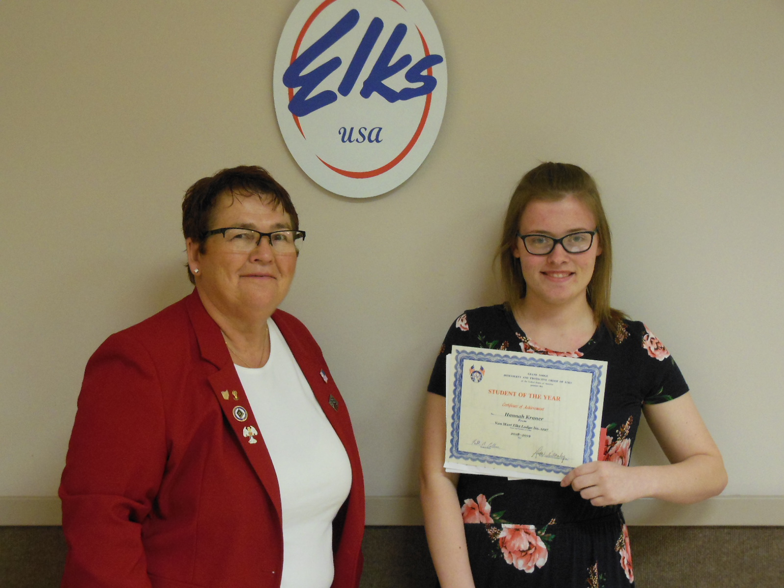 Pictured left to right are; Linda Stanley, Student of the Month Chair and Hanna Kraner.