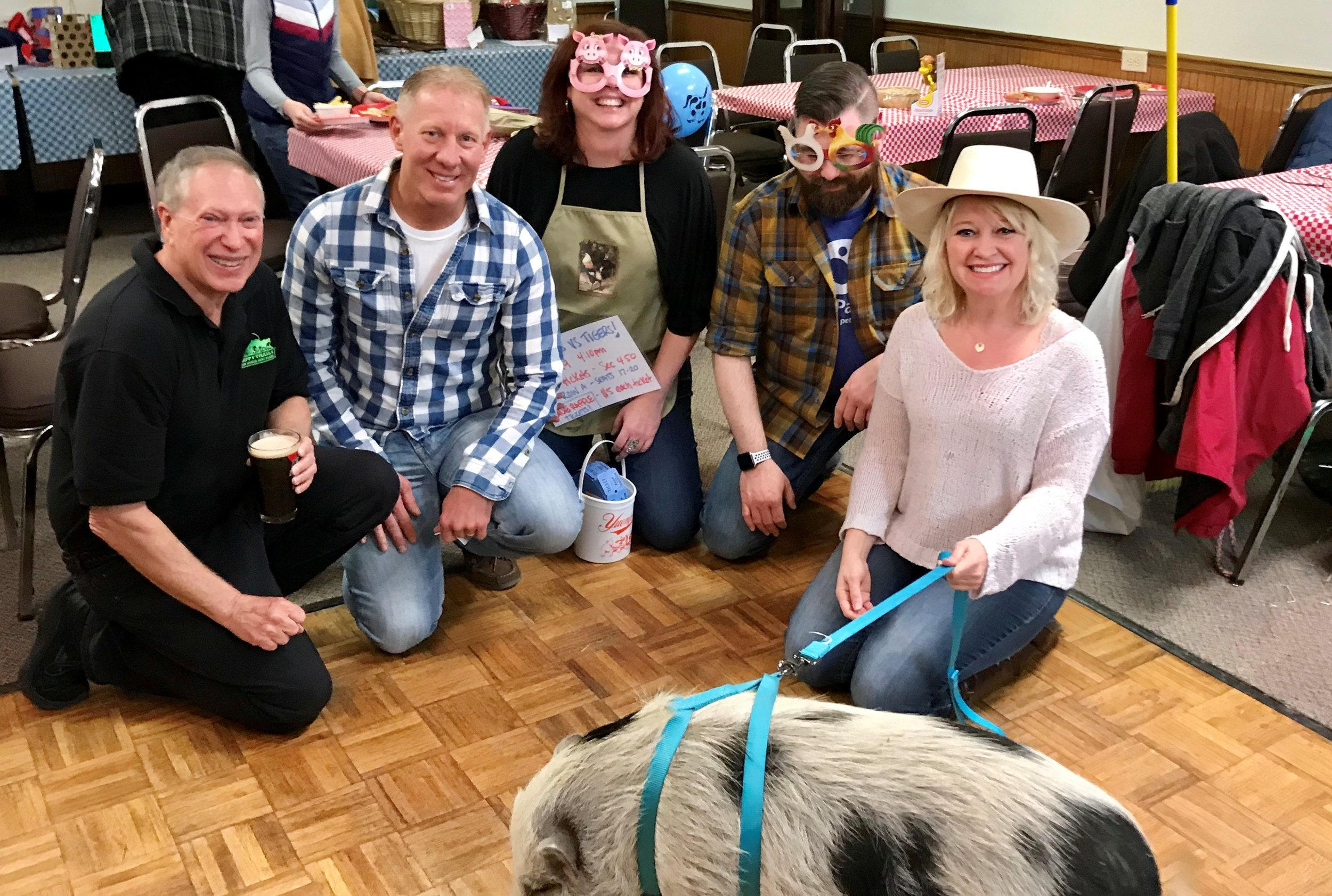 Pictured from left, Fred Lefton Volunteer Coordinator Happy Trails, Mayor Don Walters, Missie Kline PER, Eddie Hayek, Sarah Whitford Leading ER, and Mandy the Pot-Belly Rescue Pig.