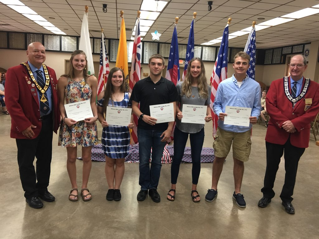 From left to right, Rich Russell Elks Exalted Ruler, Kyla Henderson, Ashley Cooper, Braden Henderson, Tessa Kaaz, Dylan Mecum, Tom Donnley Elks Scholarship Chair. Not pictured and also receiving a $1,000 scholarship are Lilly Mills, Mickenzley Springer, Jaide Allison and Connor Farley.