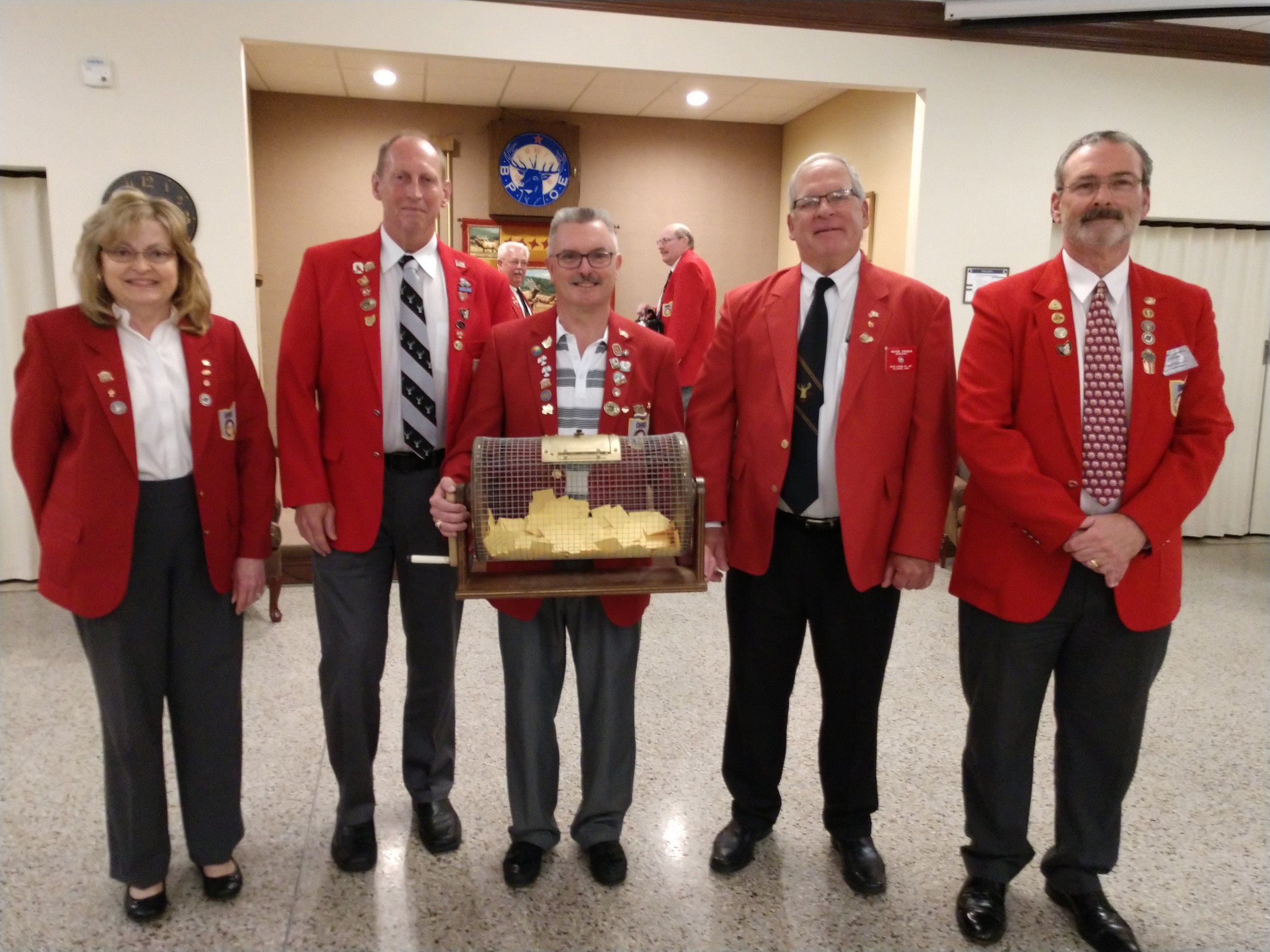 Pictured is Connie Smith, ER; Wayne Gorby, PER; Jeff Chapman, PER; winner Roger Yauman, Secretary at Alliance #467; Eddie Connors, PDDGER and OEA Trustee Chairman.