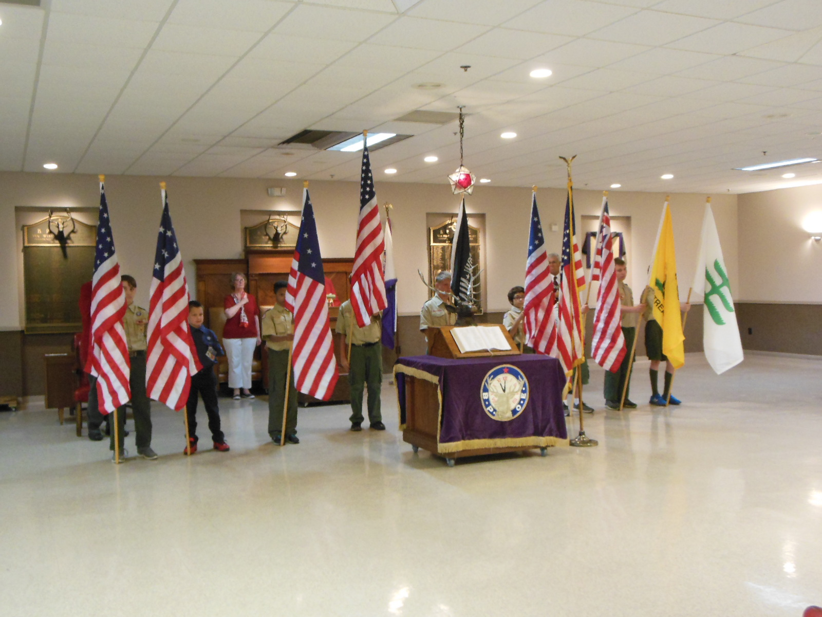 ictured are the scouts with the various flags of this country.