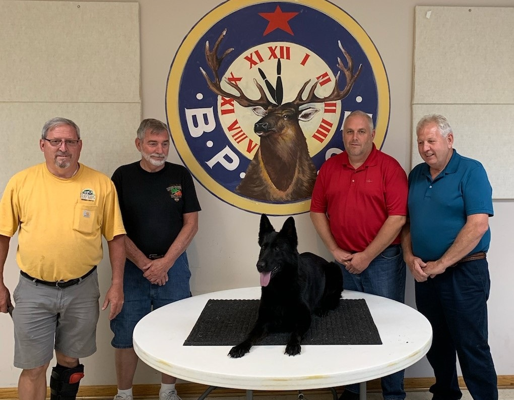 Pictured are Jackson Lodge Exalted Ruler Dallas Lloyd, Secretary Don Hill, Canine Deputy Hershey, Lodge Trustee and former Exalted Ruler Rod Bachtel and Ohio Elks Association 2nd Vice President and Lodge Trustee Keith Denny.