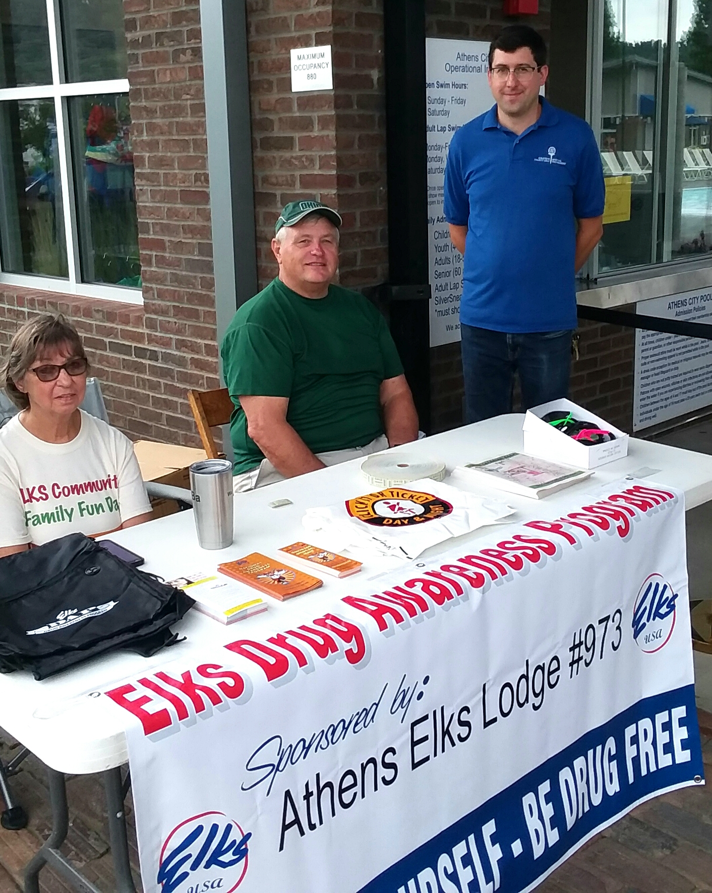 Pictured are: Elks volunteers Pat Morris, Roger Springer, and City of Athens recreational Asst. Director Andrew Chicki