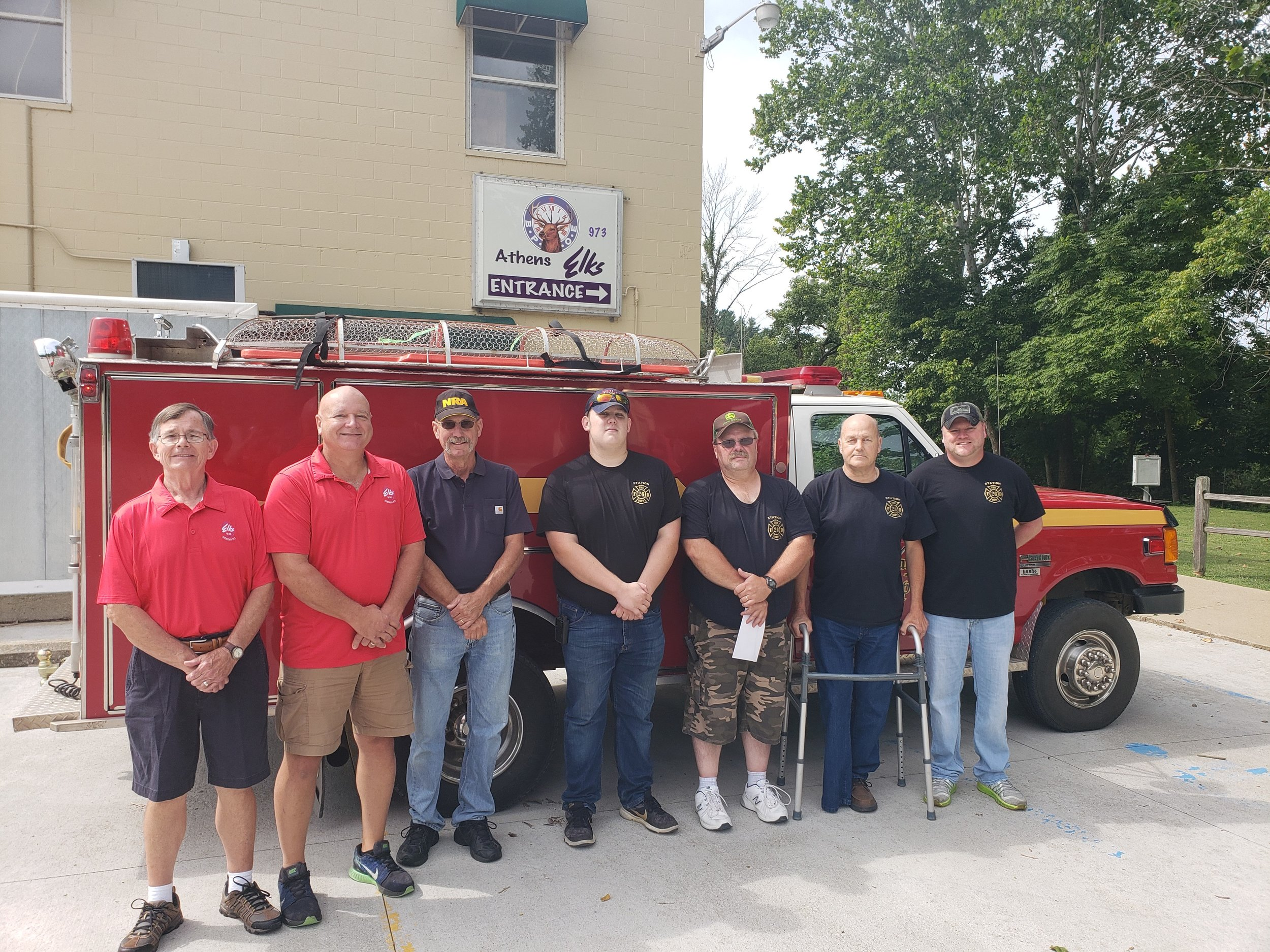 Fro left:  Athens Elks members Jim Balding, Rich Russell and Ernie Perry and from Carthage Township FD are Jerrick Nutter, Chris Nutter, Jameson Allen and Jim Allen.