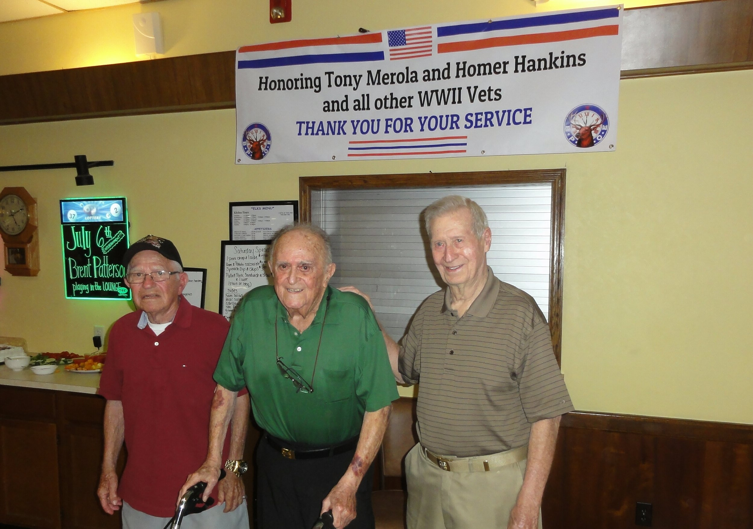 Pictured are Tony Merola, 94, Jim Betz, 93, and Homer Hankins, 93.