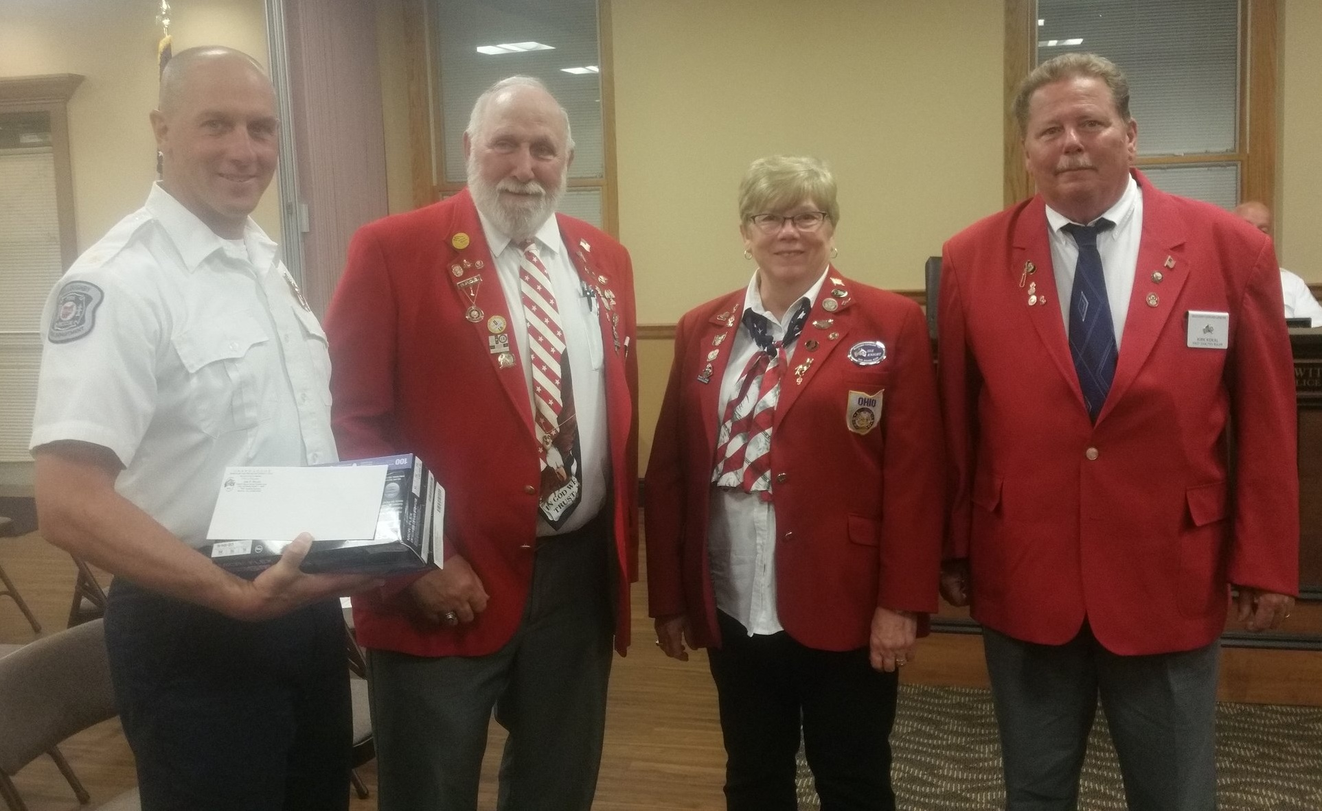 Shown with Chief Todd Unger representing the Lodge are (from left) PER Larry Clement, PER Sue Knight and PER Kirk Kokal.