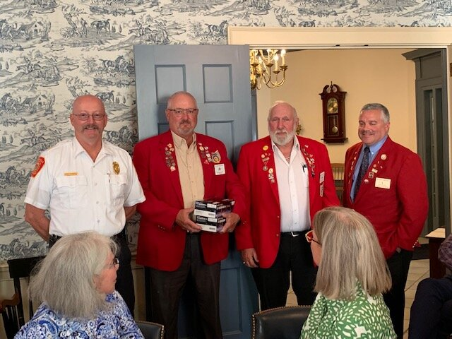 Pictured from left to right are Gates Mills Fire Chief Tom Robinson, PER Larry Clement, PER Bob Bell and Treasurer Jon Felice.