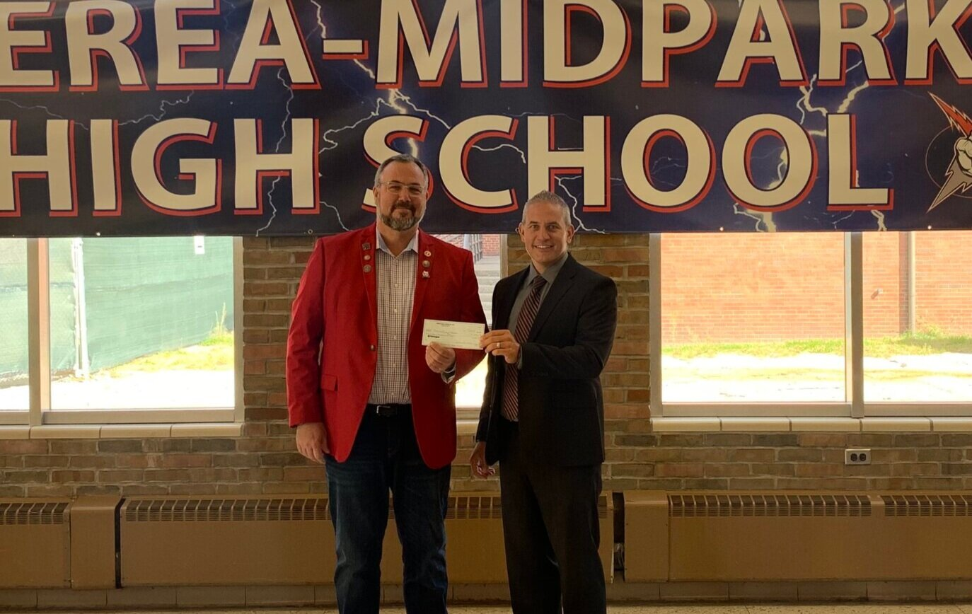 From left:  Richard Threadgill, PER, and Mark Mucha, Assistant Principal Berea-Midpark High School.