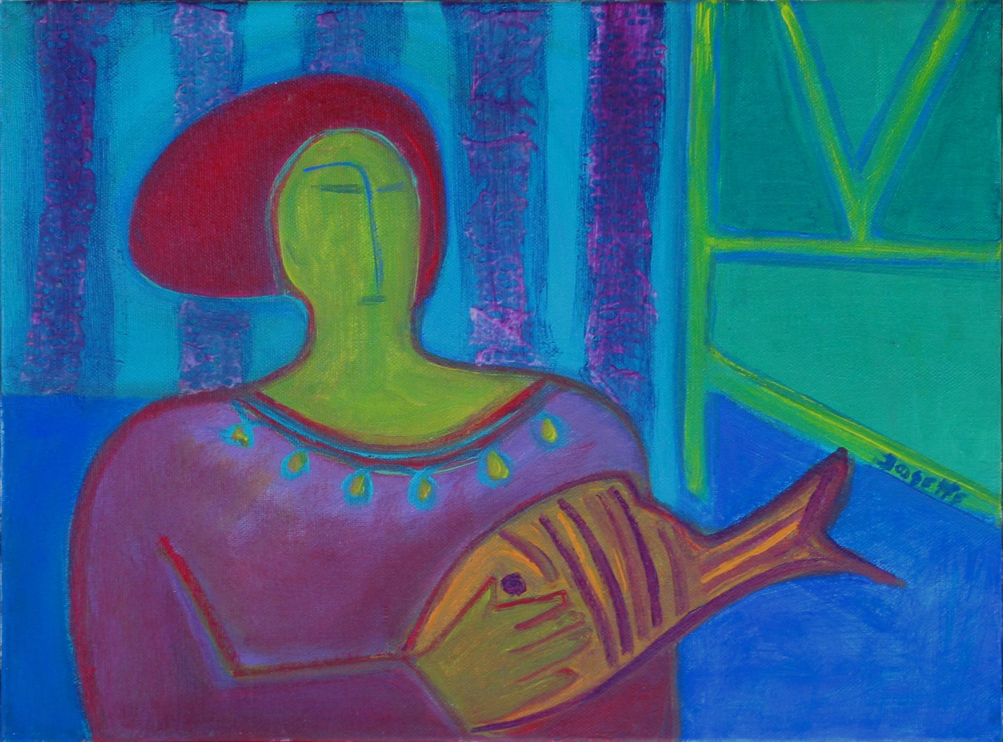 Donna con il pesce in braccia.JPG
