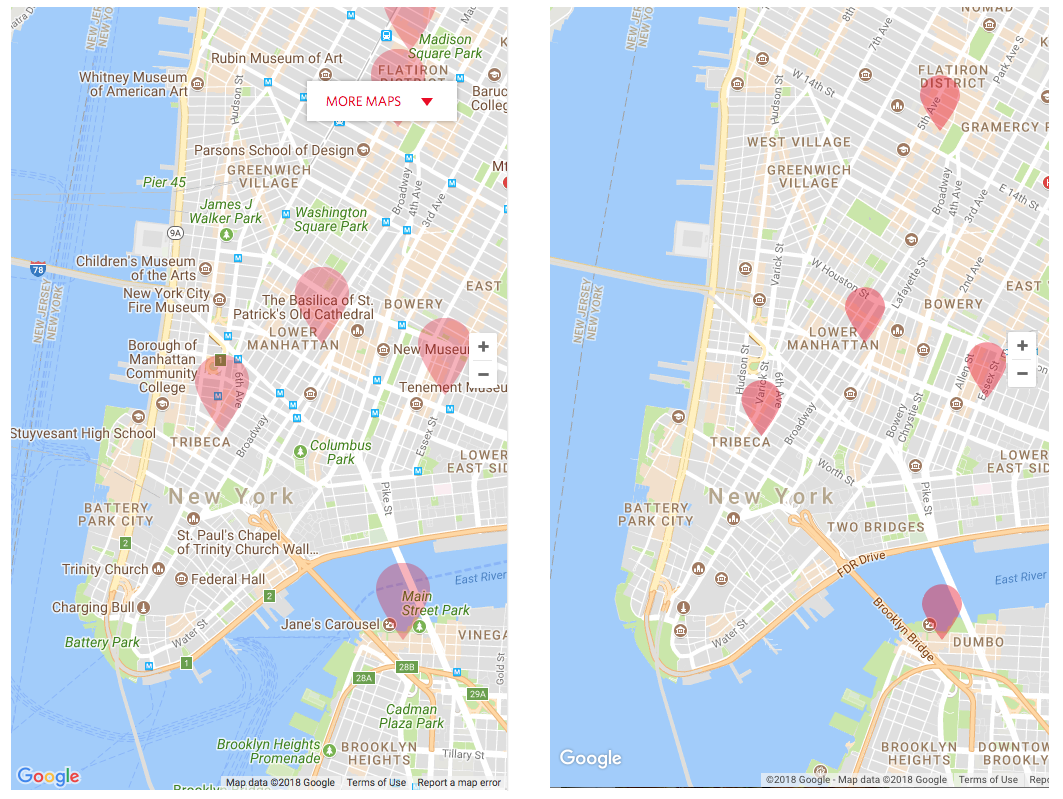 Google maps display refinements before/after