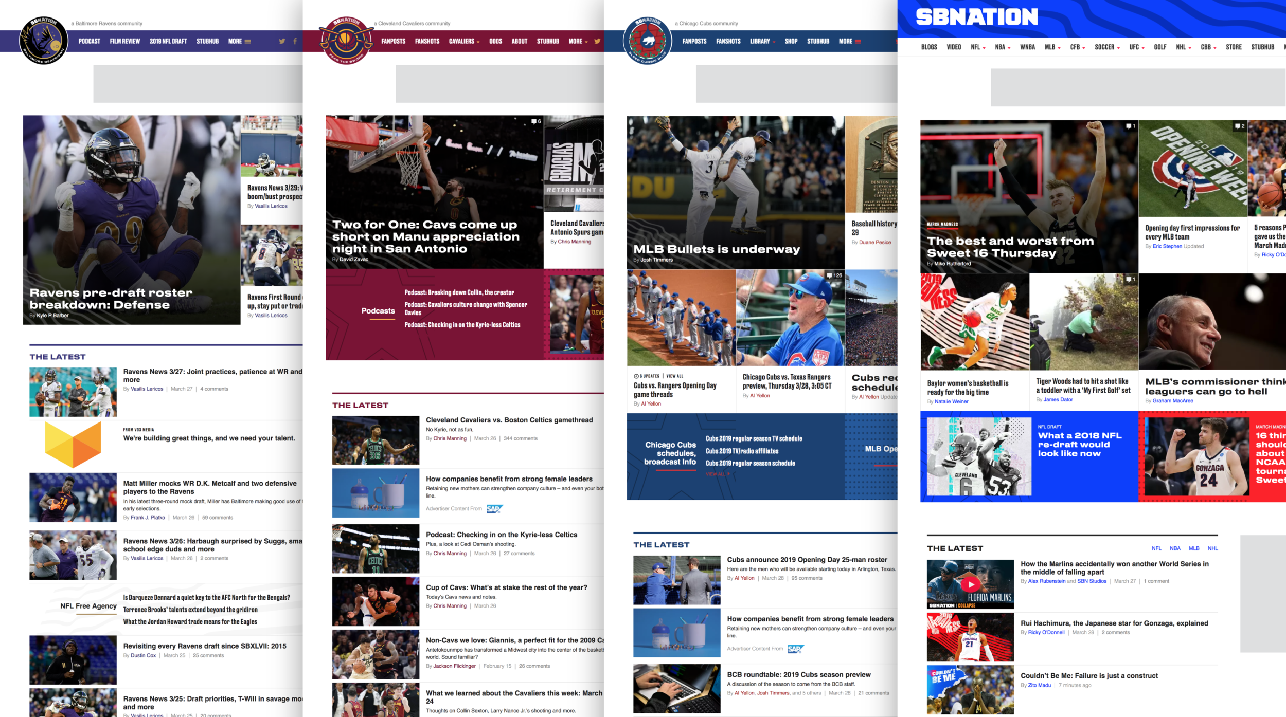 SB Nation team sites and primary site