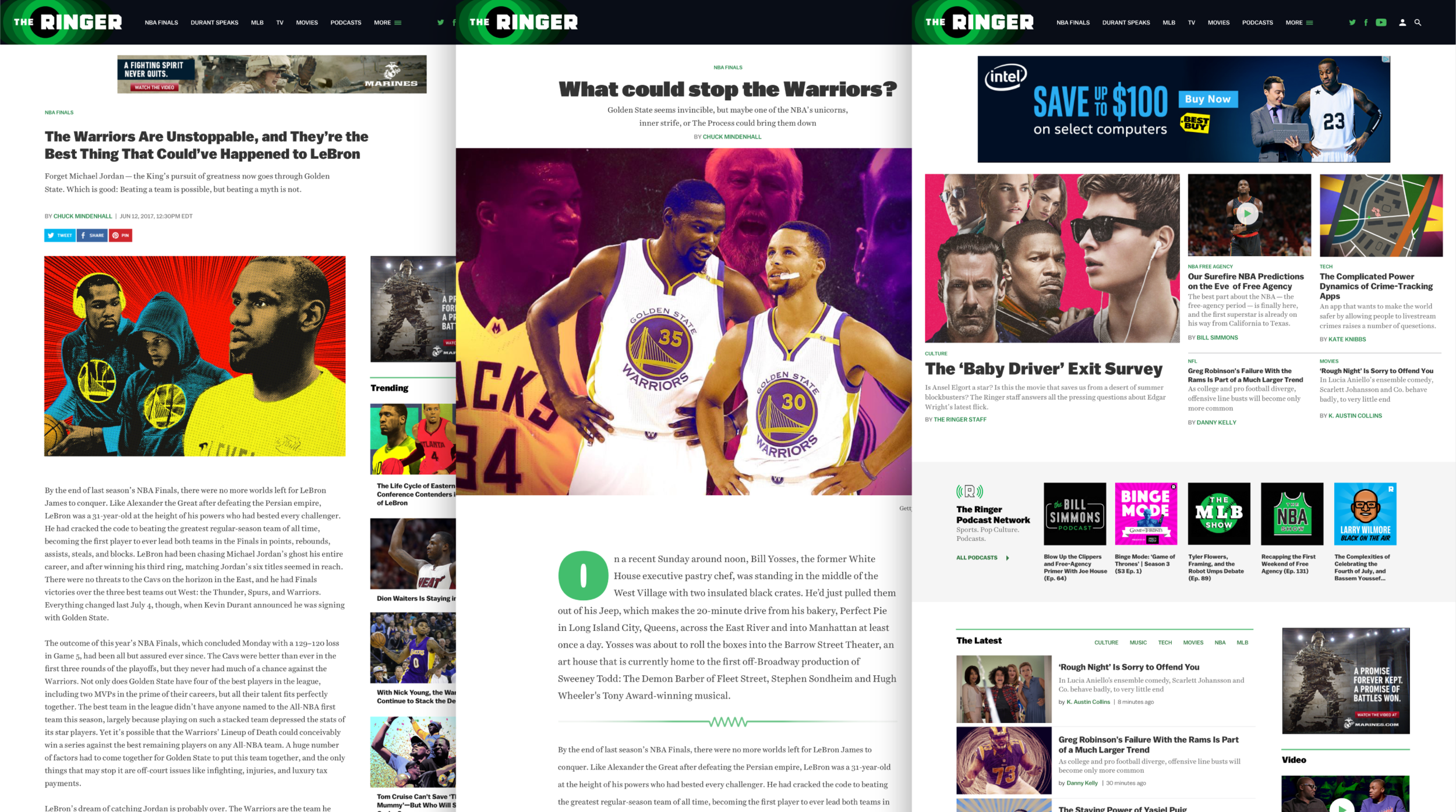 The Ringer article, longform, and home page