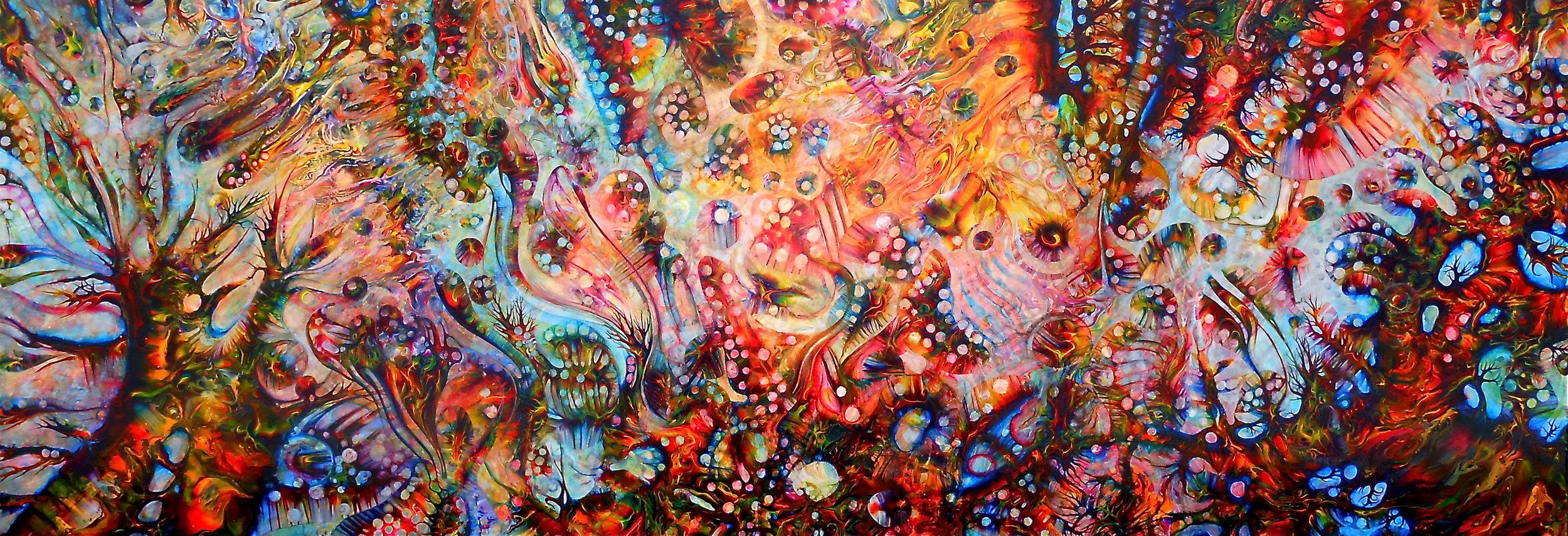 """Heart of the Psychedelic Jungle"" 32cm x 91cm, acrylic – Kristen E Carleton"
