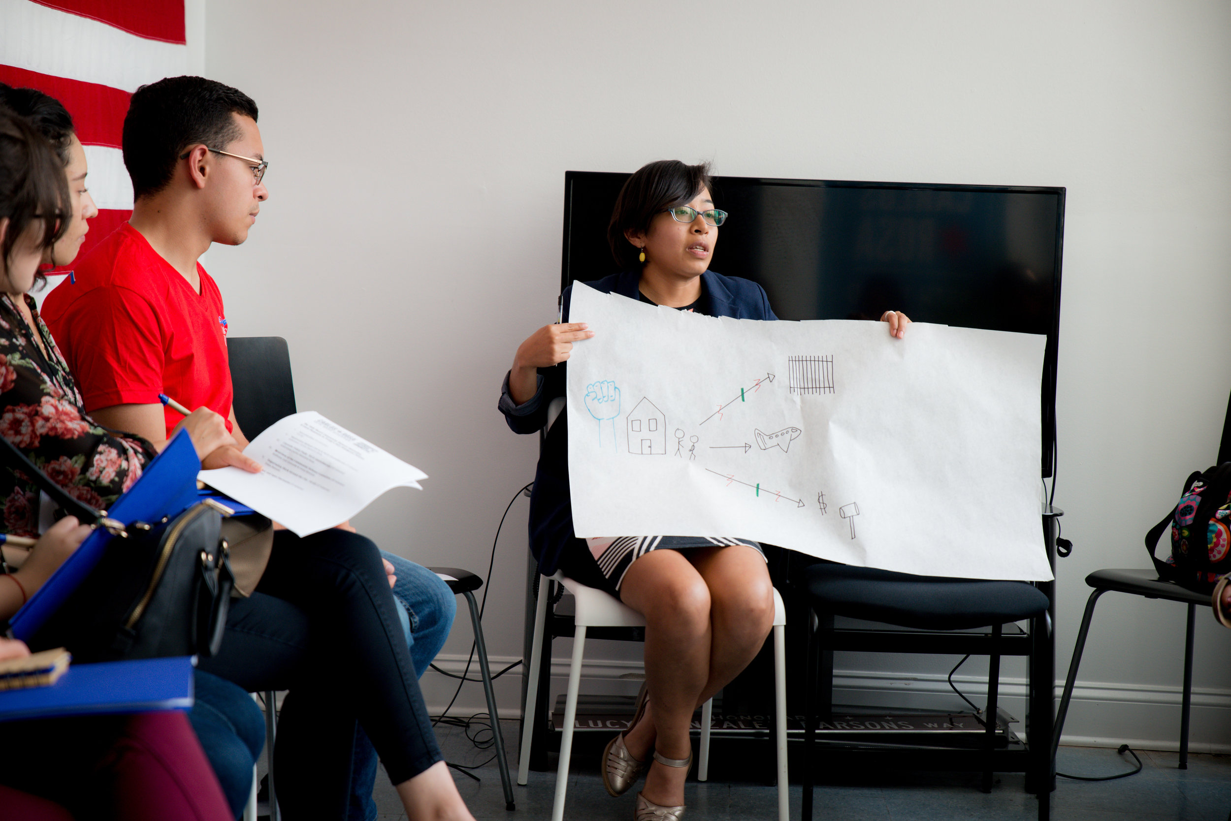 a woman presents notes during a learning journey