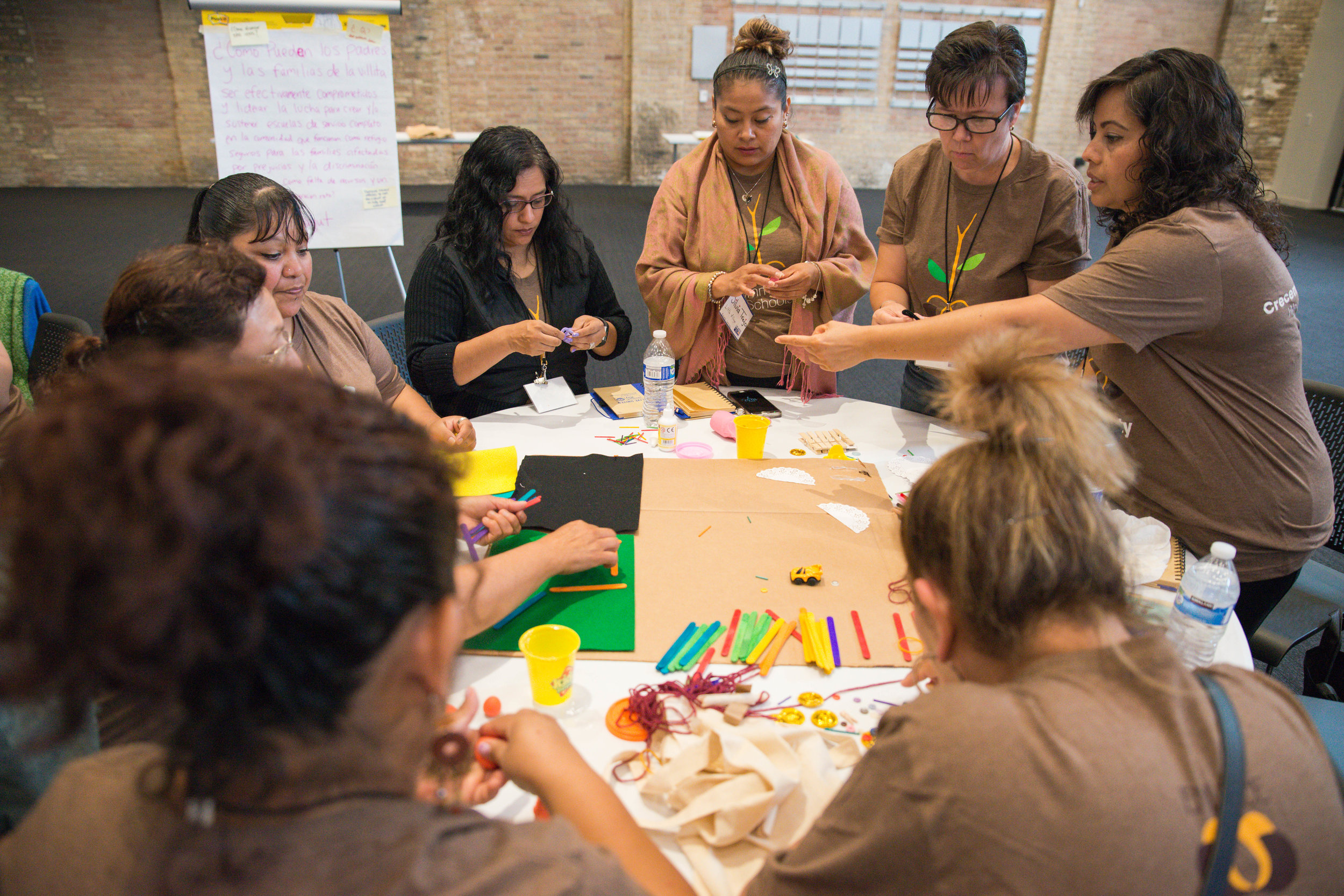 group participating in creative activity