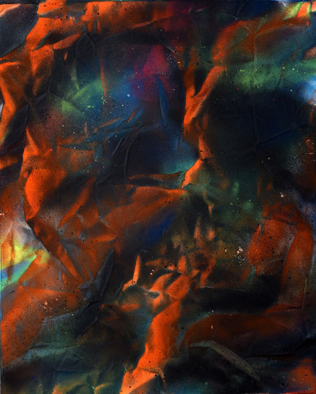 """Abstraction no.2 Sébastien Gaudette - Bombe aérosol sur toile, 2018, 20"""" x 16"""""""