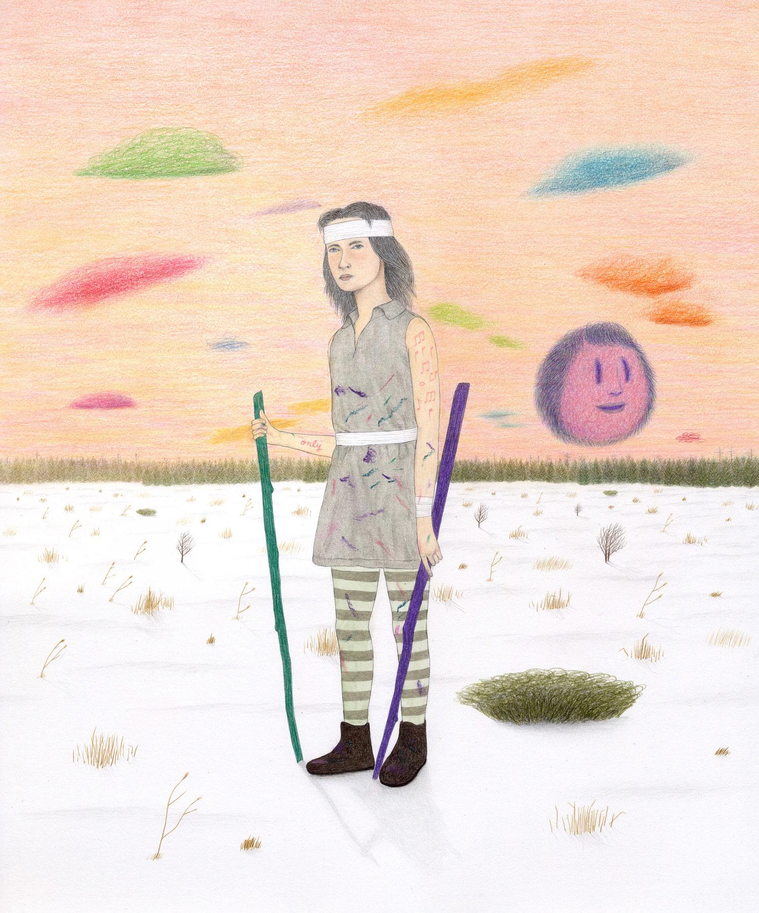 """Only Child  - Graphite, pastel et aquarelle, 2018, 14"""" x 16"""""""