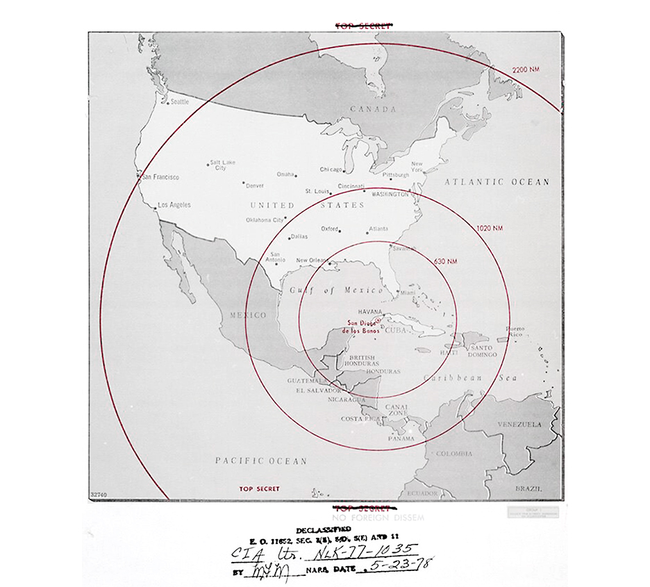 Declassified map showing the range of Soviet nuclear weapons in Cuba, used by the United States government during the Cuban Missile Crisis, 1962