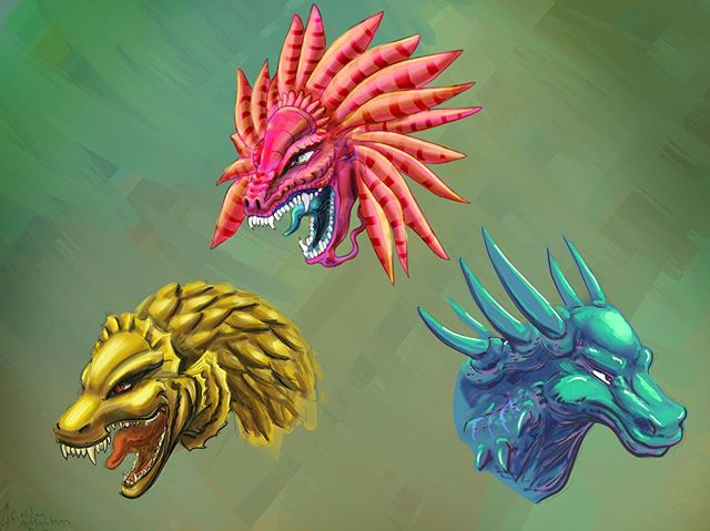 Here's a few dragon heads based off the same sketch. Which color do you like? . . . . . #drawing #ipad#procreate#conceptart#cartoon#dragon#illustration#artist#vizdev#monster#dragons#dragonlife#fantasy#mojo