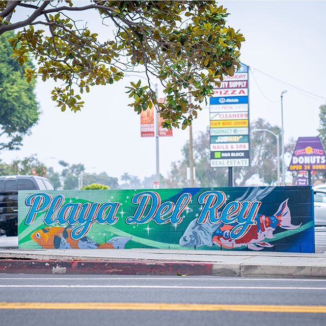 Very honored to paint another mural in playa del Rey. Feedback from the community has been great and I can't keep my eyes off of it! This one has so many cool techniques and different types of paint. If you want to see some process check it out on my highlights. So excited to be able to bring joy and a sense of community to people around me. Thank you @arijweinstein for the opportunity and @davidkentrussell for the mentor ship and collaboration. More to come! . . . . . #playadelrey#muralist#beachmurals#koi#design#photoshop#jackscream#enamel#montana#gradient#spraypaint#lettering#technicalpainting#townsign#surf#publicart#muraldesigner#graphicdesign#illustration#muralphotography#texture