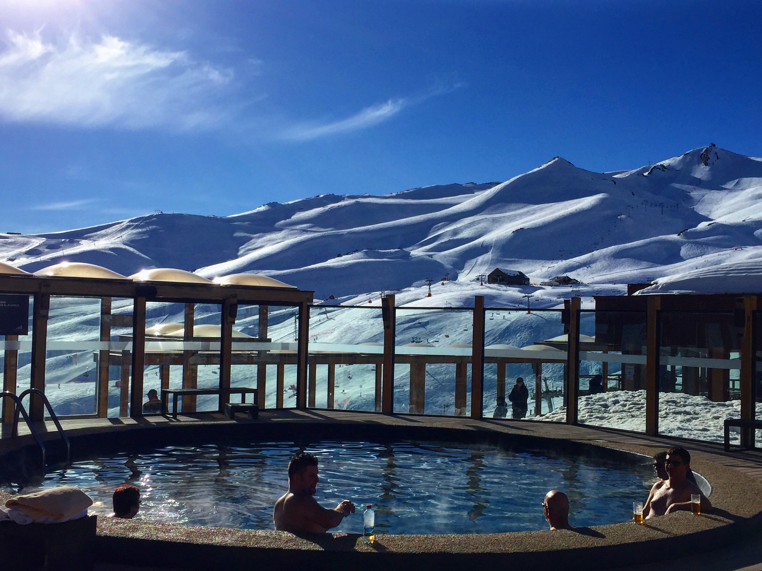 Hard to resist a slope side hot tub in a beautiful place. Valle Nevado, Chile