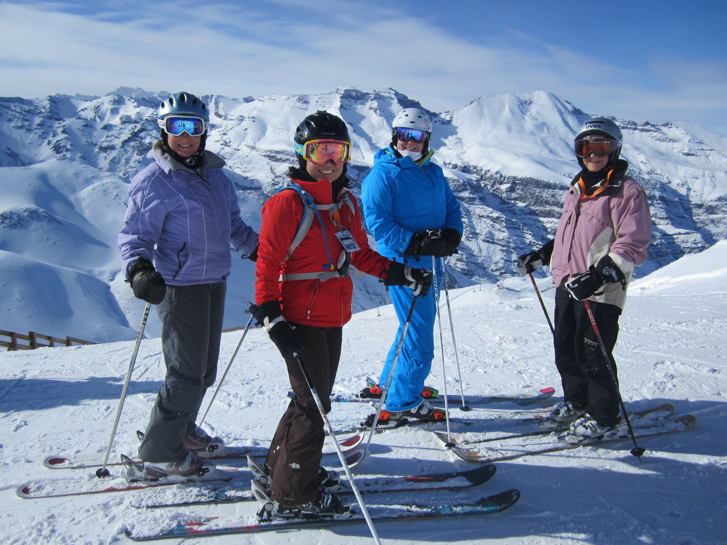 """Janet, Jeannie, Jennifer and Barbara on """"the best experience of my life"""" in Valle Nevado, Chile."""