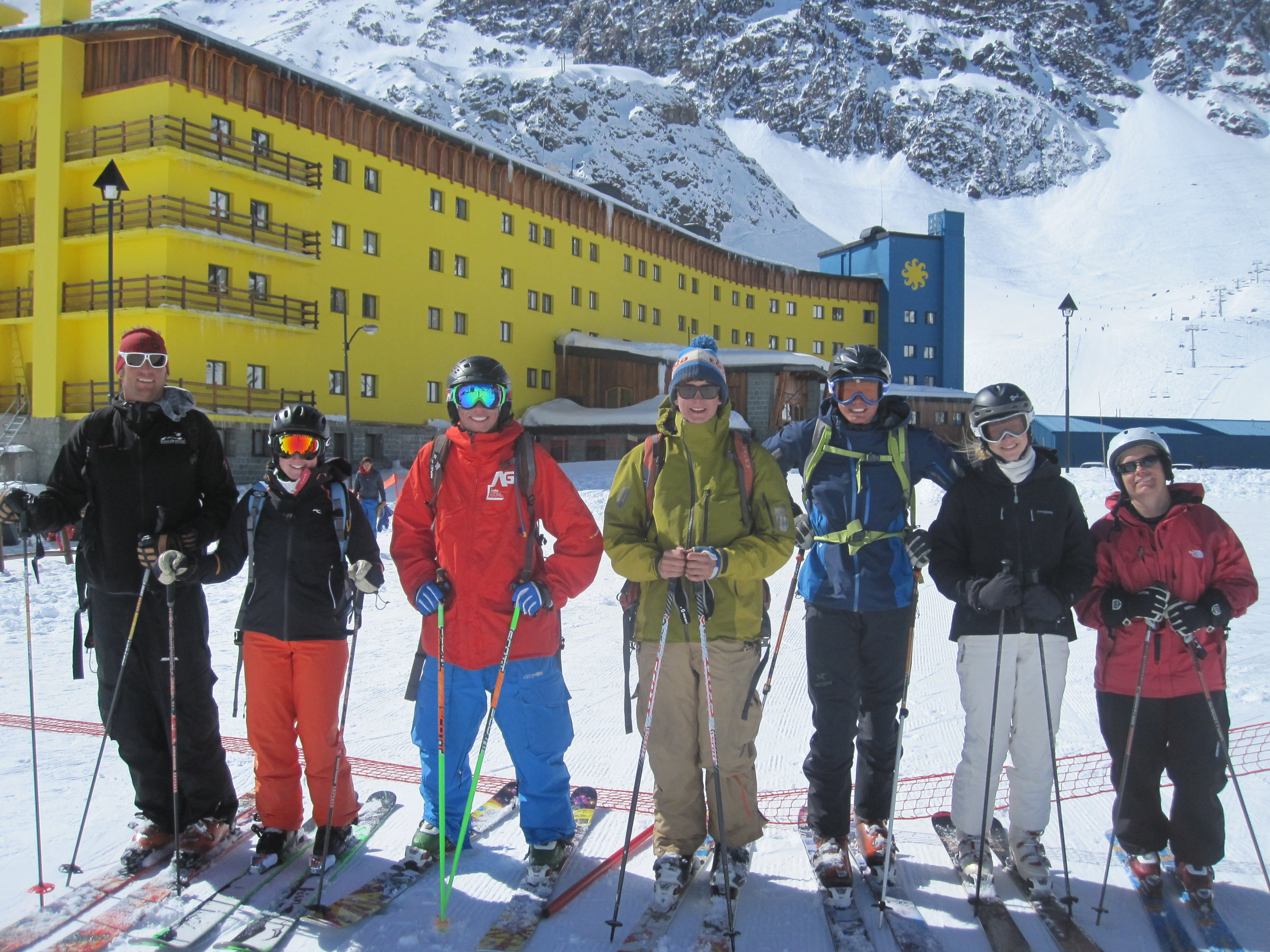 In 2011 Bailey and crew successfully hiked and skied Portillo's famous Super C. Bailey, in red, is all smiles for a good reason.