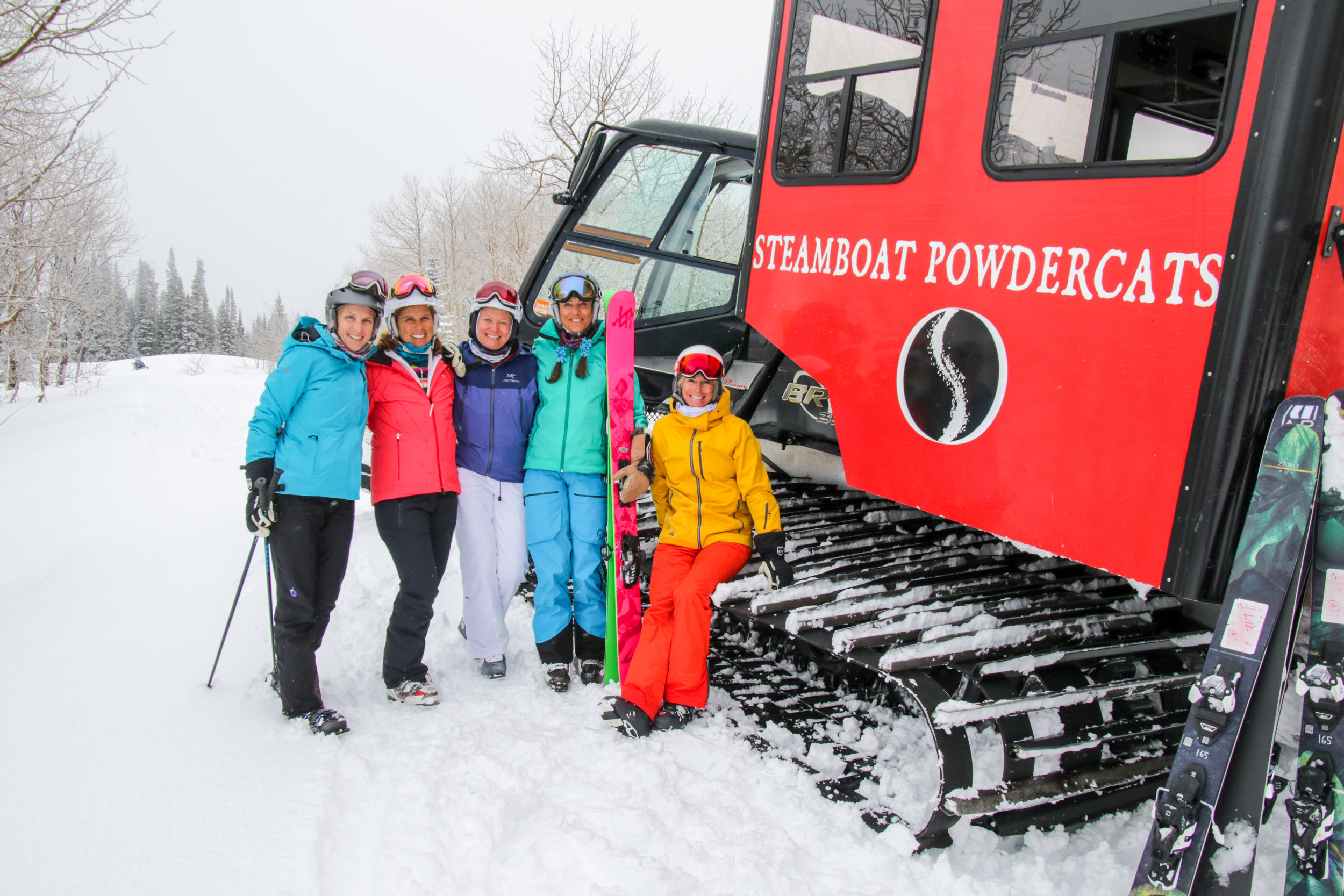 Quick photo break from powdercat skiing with the ladies in Steamboat.