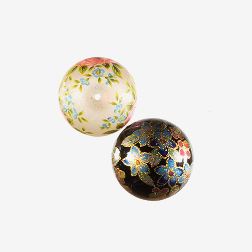 Chinese Painted Glass   Material: Glass   Painted glass beads from China look like miniature works of art.