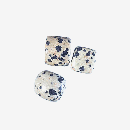 Dalmation Agate   Material: Natural Stone   Dalmatian agate is a type of agate with silicone dioxide spots that are darker than the base color and look like spots on Dalmatian dogs.