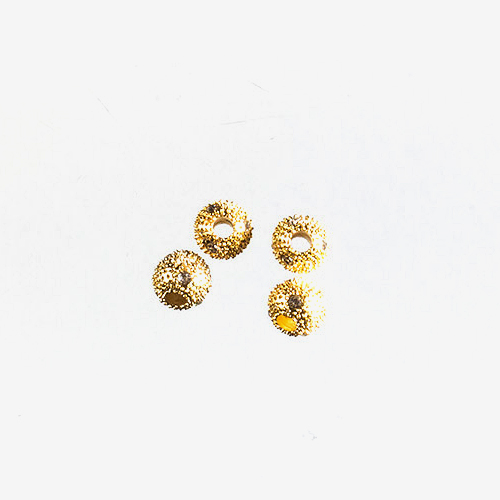 Gold Metal Rhinestone   Material: Metal & Rhinestone   These gold metal beads have hand-placed rhinestones embedded in hollow spheres of metal.