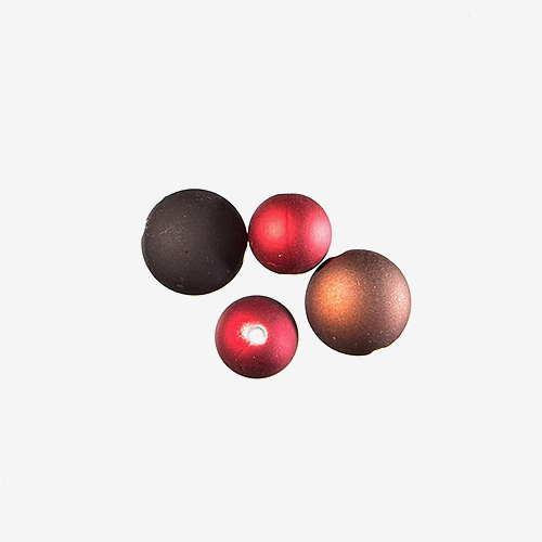 Rubberized Resin   Material: Resin   Lightweight beads with an acrylic core and a resilient, silky-smooth feel to the outside of the beads.