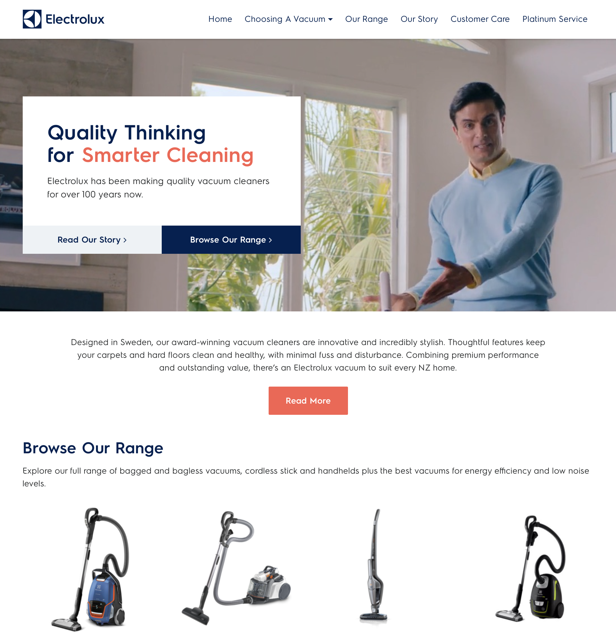 Electrolux Vacuums Website Home Page