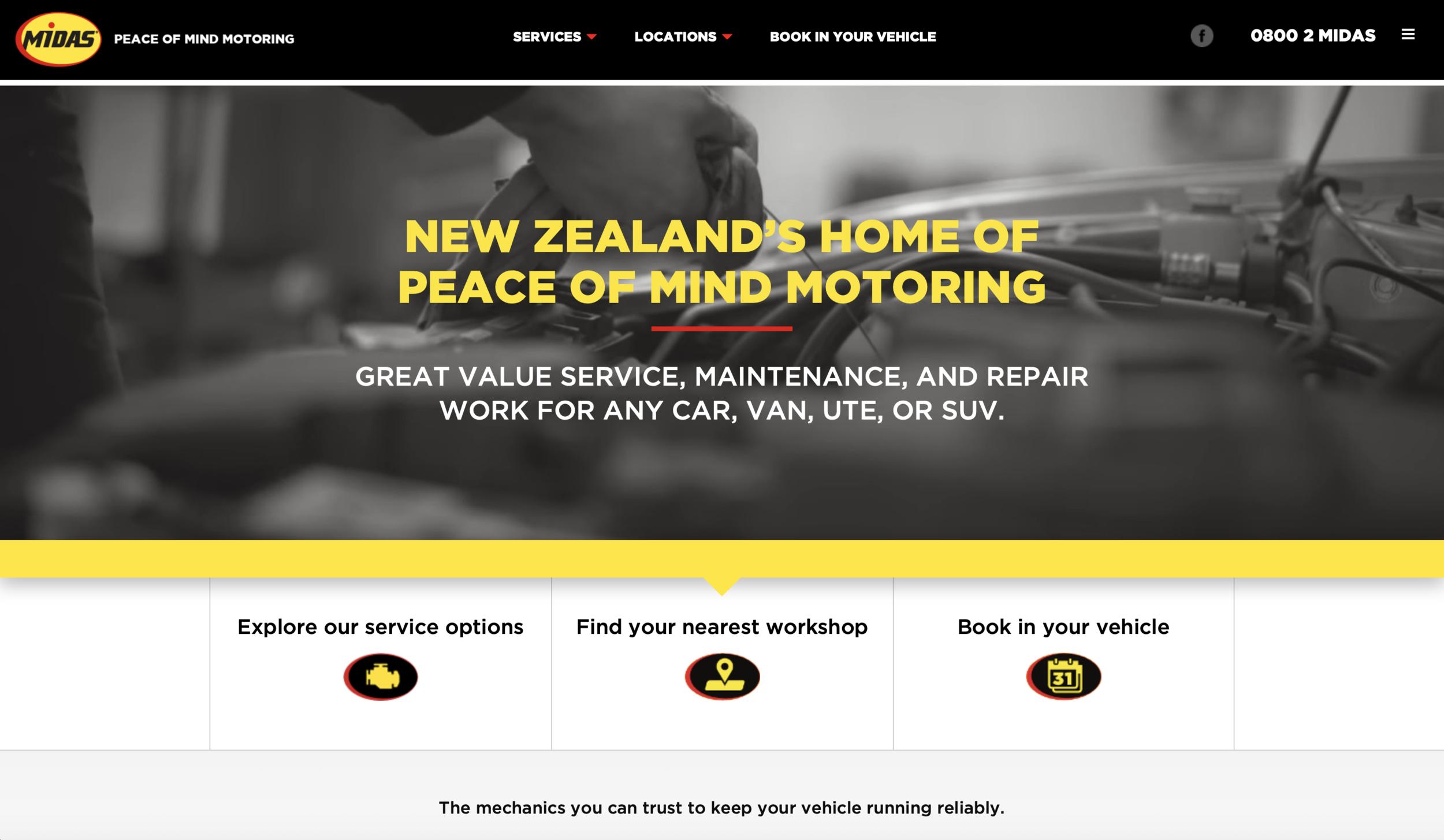 Midas NZ Website Home Page