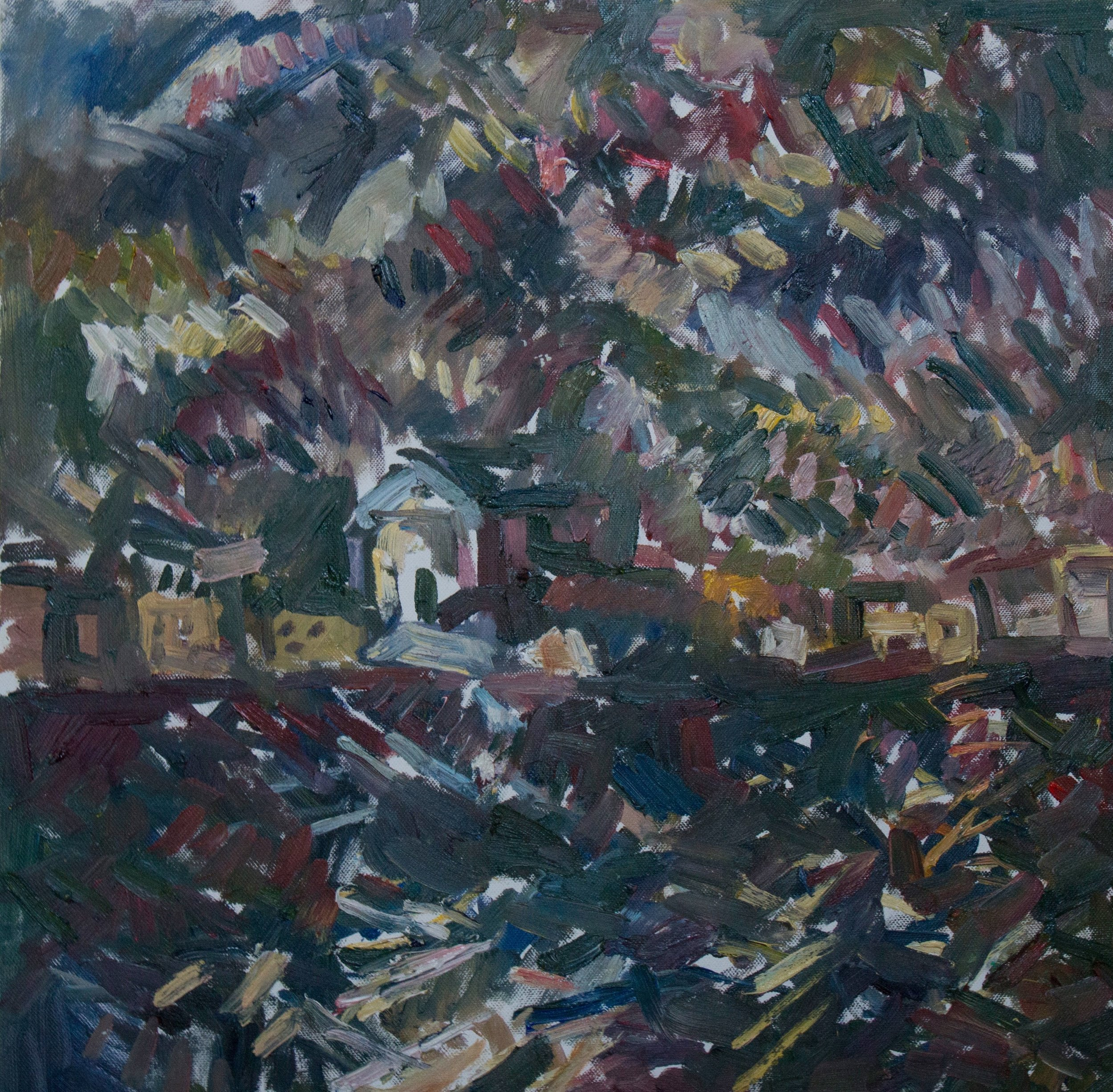 "Il Redentore at Night , oil on canvas, 19.5"" x 19.5"", 2018"