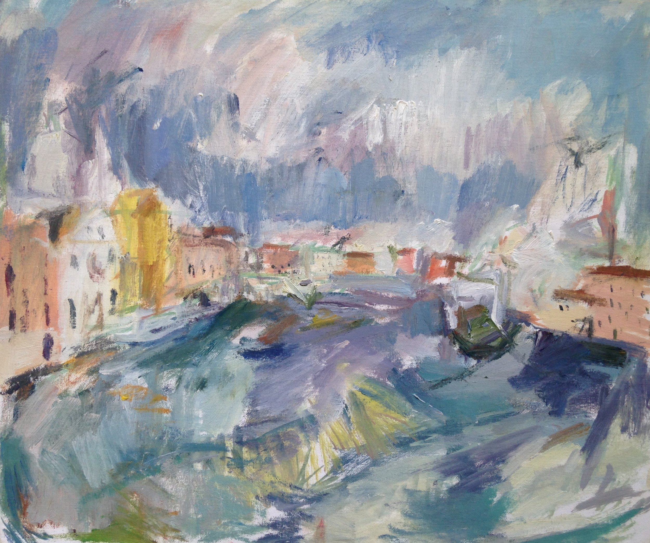"View of Venice from Giudecca II , oil on canvas, 15.5"" x 18"", 2017"
