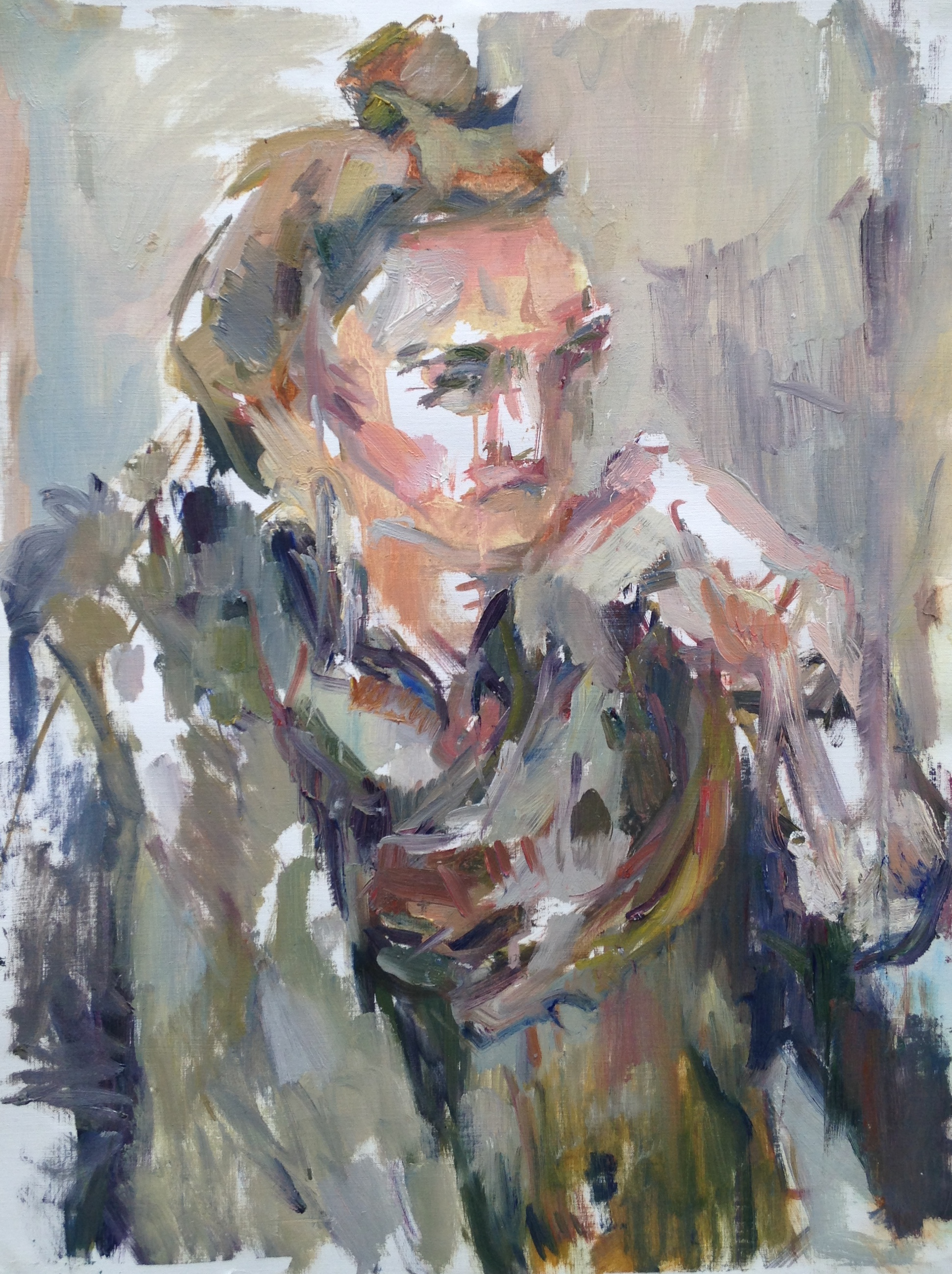 "Clare , oil on canvas paper, 18"" x 15"", 2016"