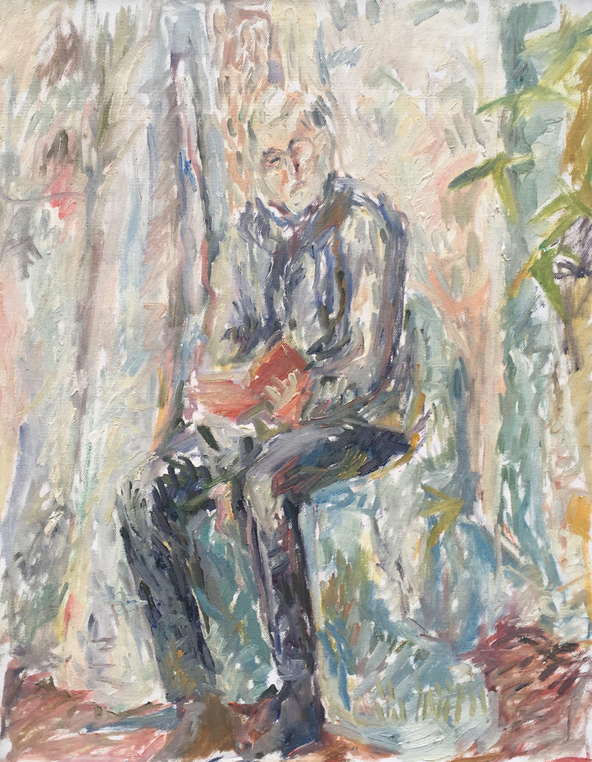 """John Reading Virginia Woolf , oil on canvas, 20"""" x 16"""", 2017"""
