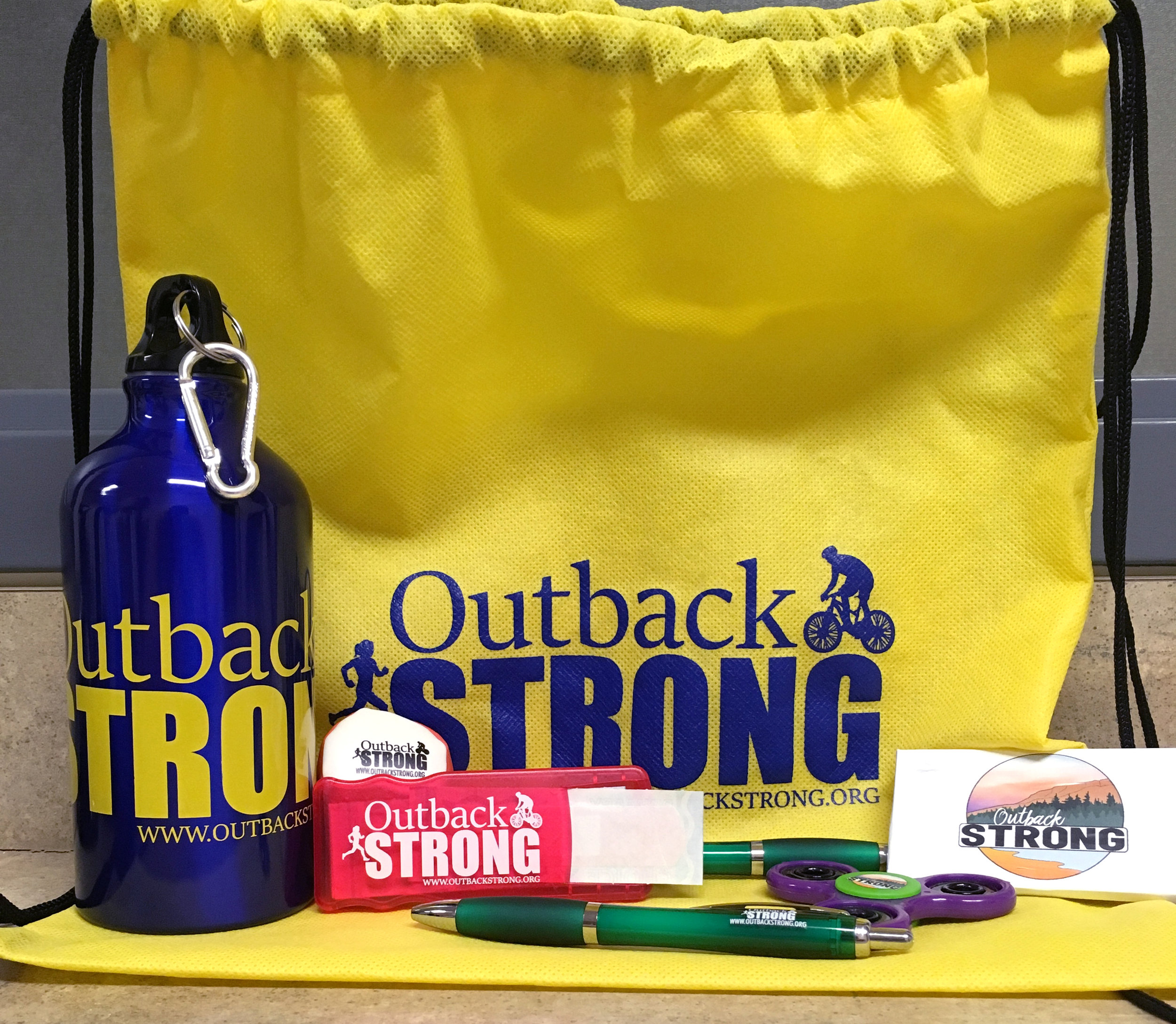 Check out the prizes and swag we'll be offering at the Outback Strong Teen Health Fair. We have aluminum water bottles for the teens who get each station on their passport checked off, plus prizes and giveaways: hackey sacks, bandage dispensers, fidget spinners, pens, and gum. There may be other prizes along the way.