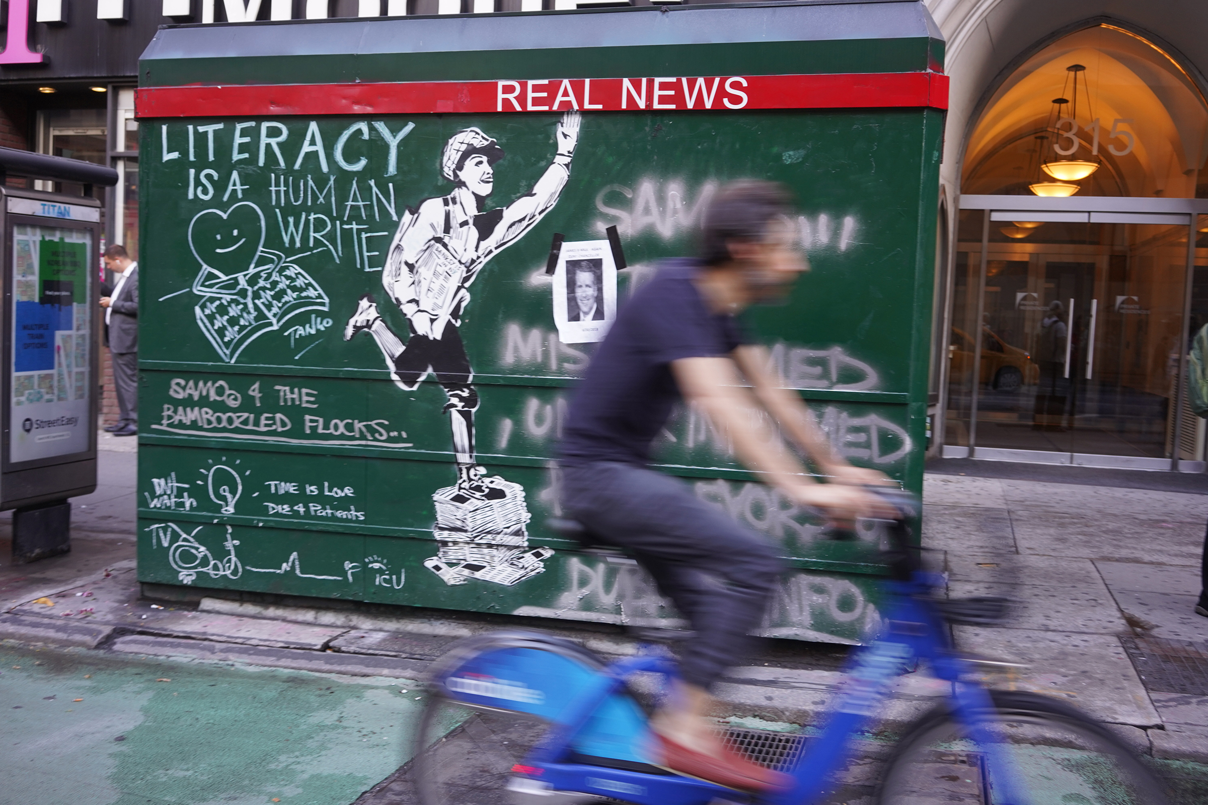 """Real news"" in the East Village, New York. June 28, 2018. / Brianna Spause"