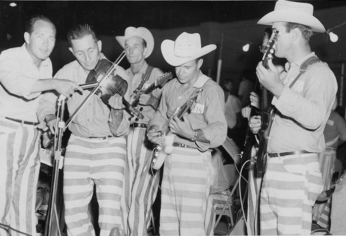 "BlueJacket (left) with the ""Outlaws"" prison band, ca. 1965."
