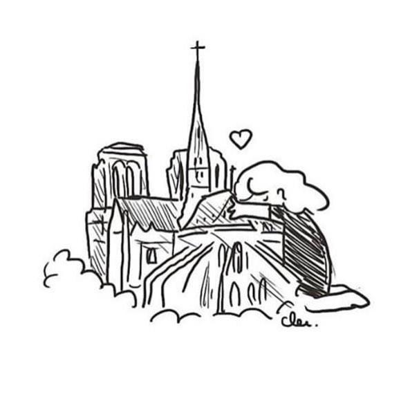 Notre-Dame de Paris 😢 . . . Ilustración: @clementinelatron