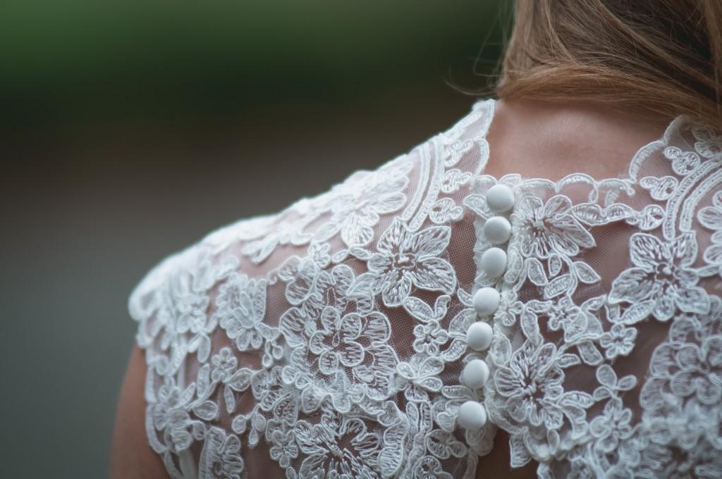 Lace applique on a wedding dress