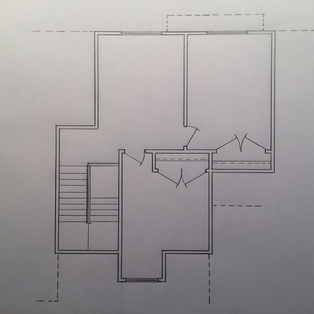 Foundation plan floor plan and second-story plan, first stages of final drawings.