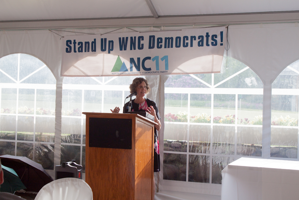 District Chiar, Kathy Sinclair opening up the dinner with inspiring words to Western North Carolina Democrats.