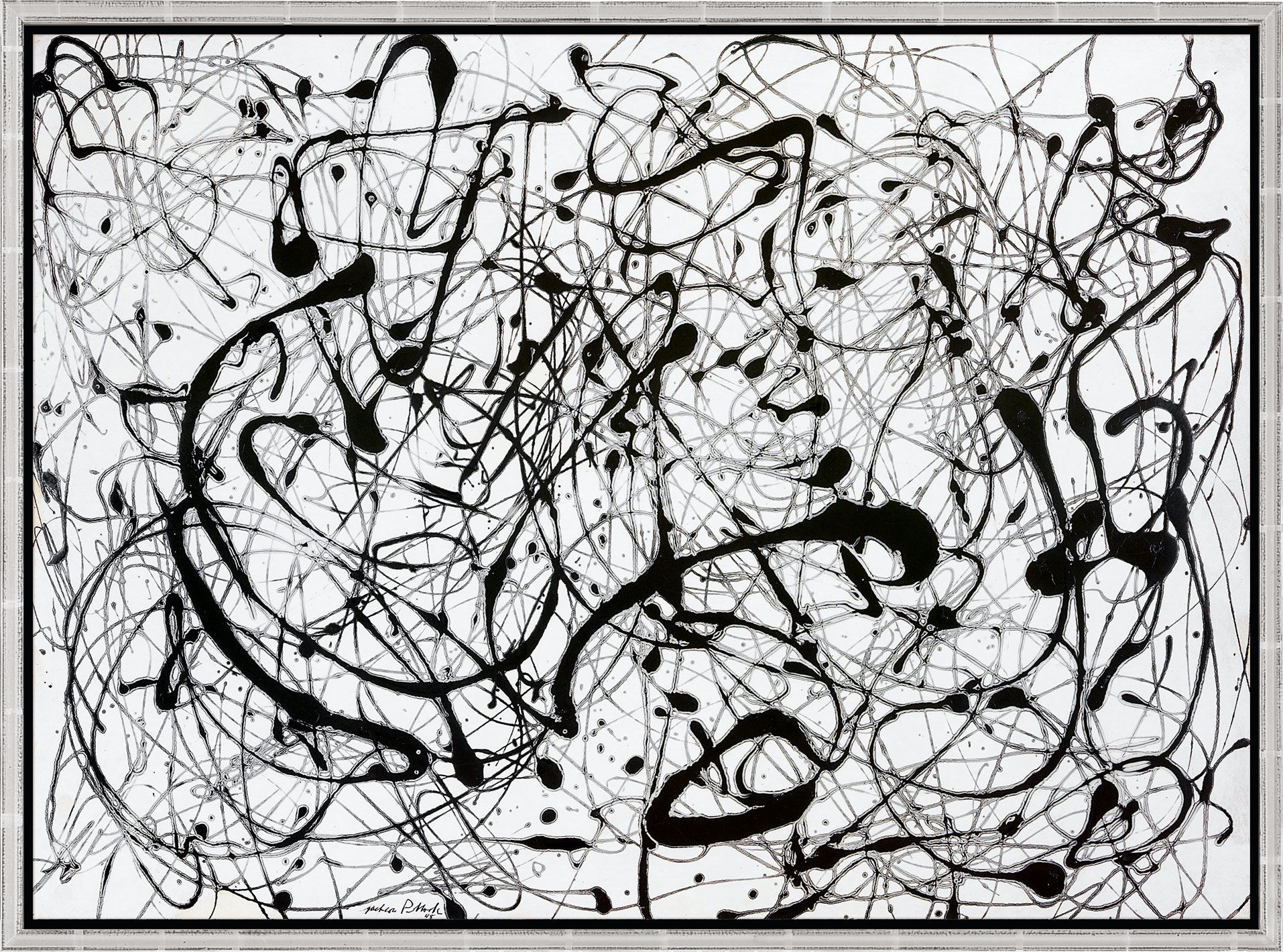 """Number 14 """"Gray"""" by Jackson Pollock, print hanging in office"""
