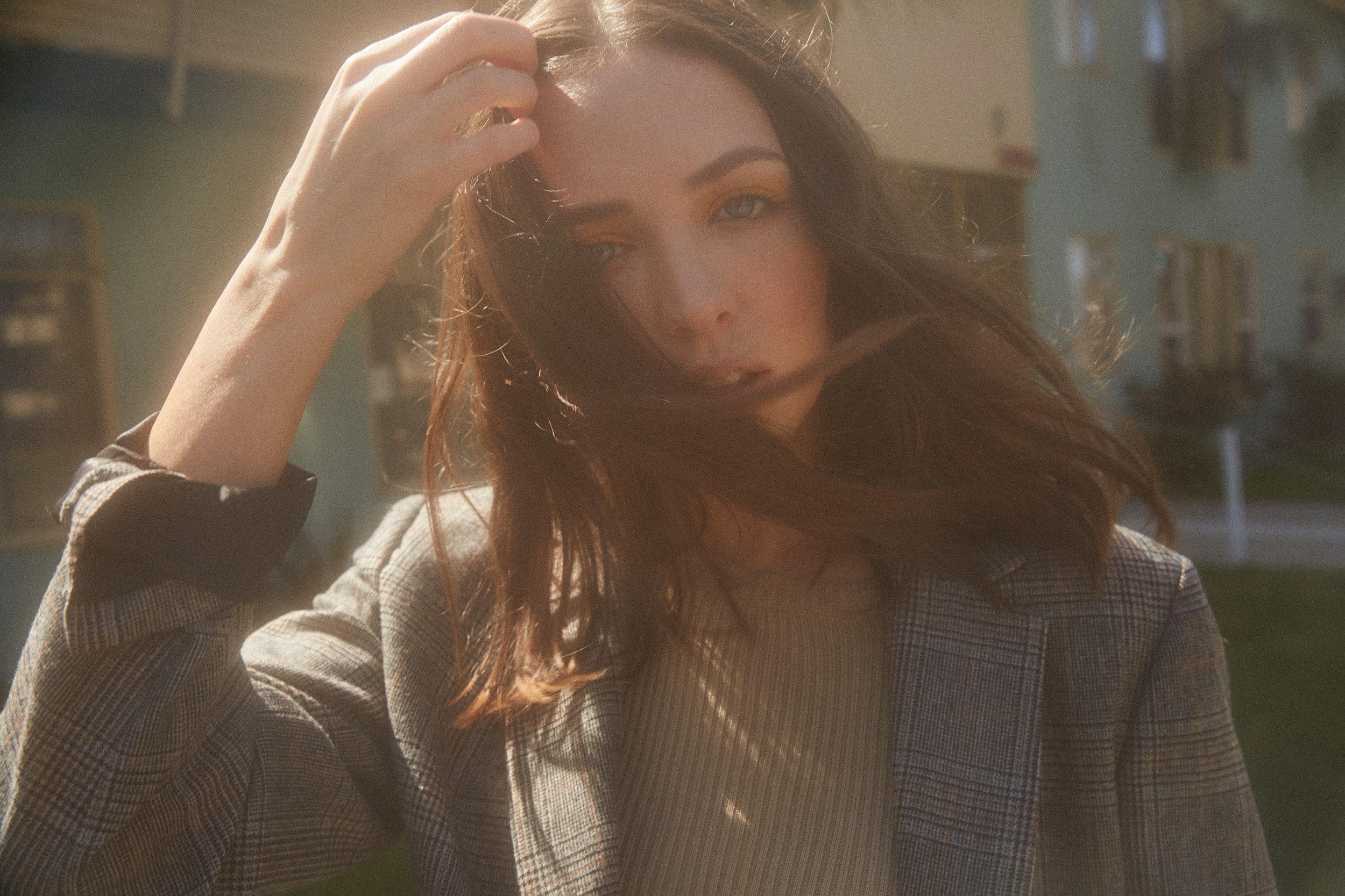 Zara suit Vintage top Gucci belt Madison Chertow In rainbows mag
