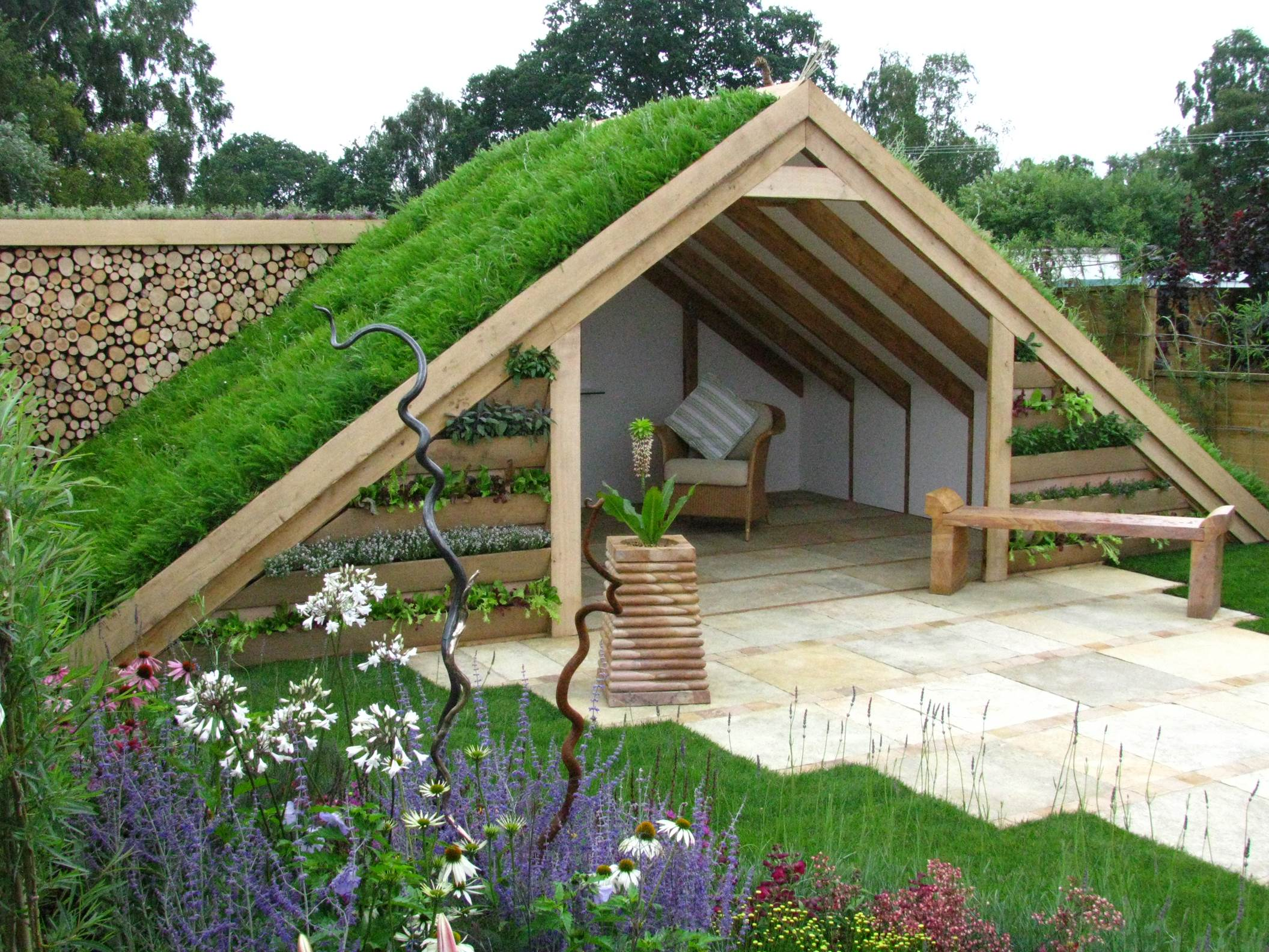A sustainable shed with green roof.