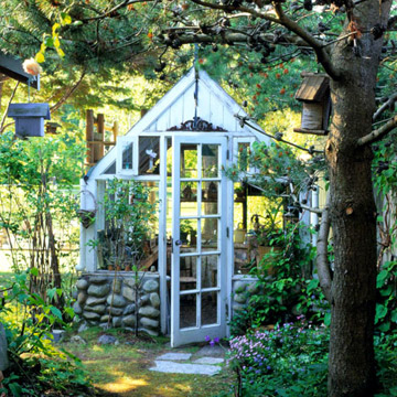 A quaint shed with stone bricks.