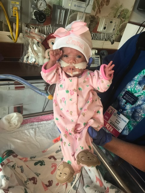 Emma Jaimes, 24 Weeker - I am grateful for the moment I saw Emma without her elephant trunk (CPAP mask). It had been one month since I had last seen her face and hair. Her nurse had turned off her camera so she could surprise this. It was such a special moment I will never forget.